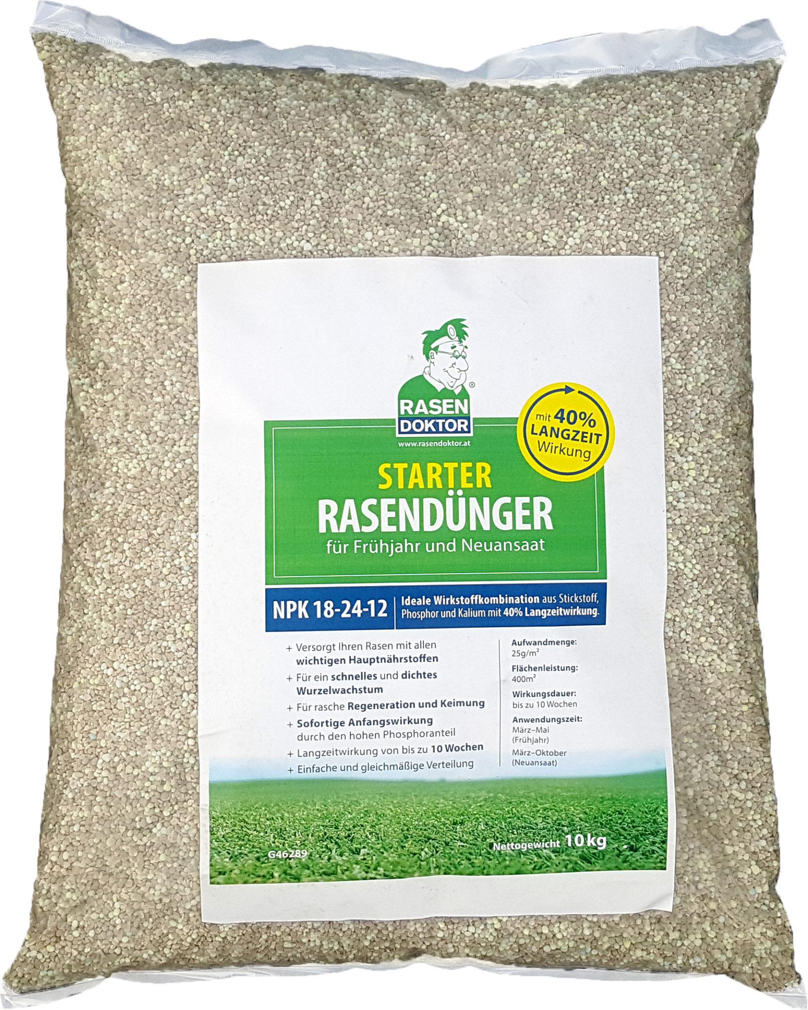 Starter Rasendünger für den Frühling und eine Neuansaat NPK 18-24-12 10kg